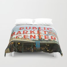 Seattle Pike Place Market Duvet Cover