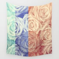 vintage flowers Wall Tapestries featuring Vintage Flowers by Del Vecchio Art by Aureo Del Vecchio