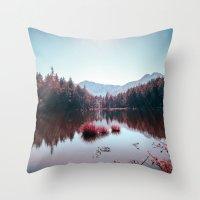 buddhism Throw Pillows featuring Winter Lake by Schwebewesen • Romina Lutz