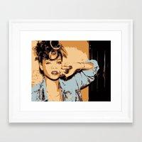 rihanna Framed Art Prints featuring Rihanna  by GOLDY