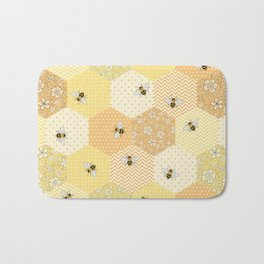 Patchwork Bees Pattern Bath Mat