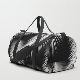 White Palm Leaves on Black Background #decor #society6 #buyart Duffle Bag