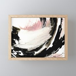 Crash: an abstract mixed media piece in black white and pink Framed Mini Art Print