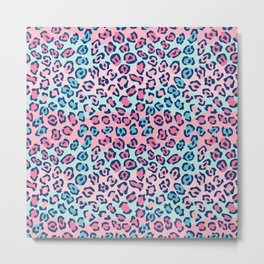 Wildcat Spots Pattern in Pink and Blue Metal Print