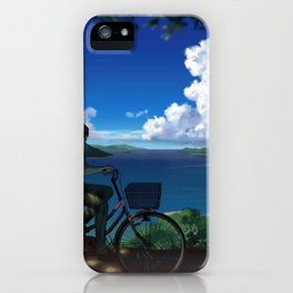 Romantic Couple Driving Bike Enjoying Wonderful Oceanside View Cartoon Scenery Ultra High Resolution iPhone Case