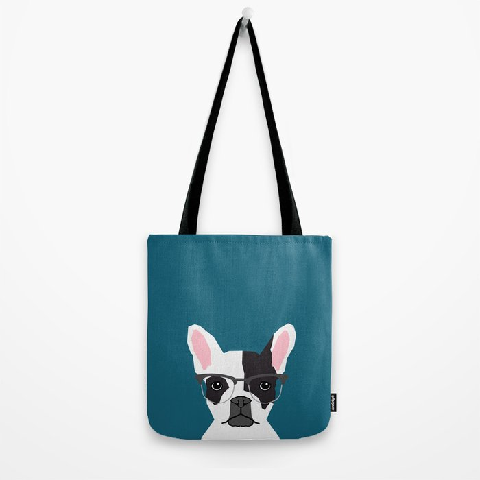 Hadley  - French Bulldog wearing hipster glasses perfect for dog lovers and owners, dog people Tote Bag