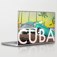travel poster Laptop & iPad Skins featuring Cuba vintage travel poster print by Nick's Emporium Gallery