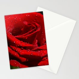 Red Rose with Drops  011 Stationery Cards