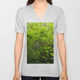 Neon Leaf Forest Unisex V-Neck