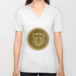 Wild Hog Head Angry Gold Coin Retro Unisex V-Neck
