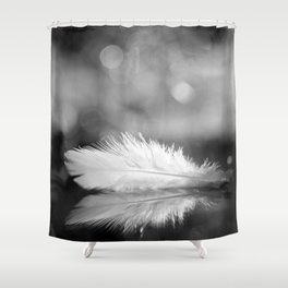 White Feather In Black And White Bokeh Background #decor #society6 #buyart Shower Curtain