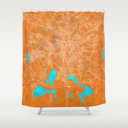 Leipzig, Germany, Gold, Blue, City, Map Shower Curtain