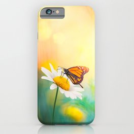 Flowers With Butterflies in the spring garden illustration iPhone Case