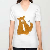 office V-neck T-shirts featuring Office Bear by Tobe Fonseca