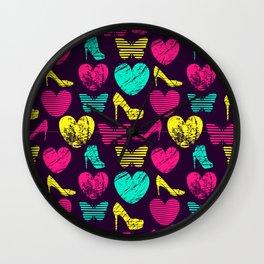 High Heels Grunge hearts and butterflies Wall Clock
