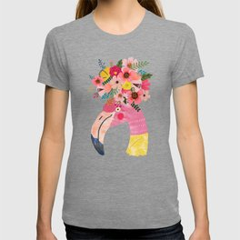Pink flamingo with flowers on head T-shirt