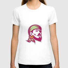 Pirate Eyepatch Headscarf Looking Up Retro T-shirt