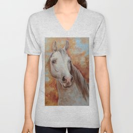 Grey Horse Portrait Autumn Scenic Painting Equine Art Decor for horse lover Unisex V-Neck