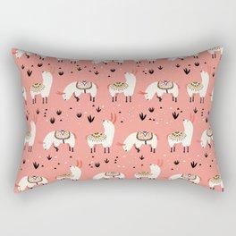 White Llamas in a pink desert Rectangular Pillow