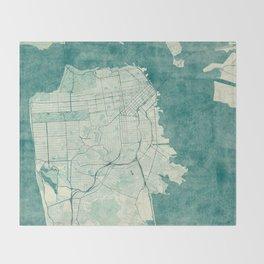San Francisco Map Blue Vintage  Throw Blanket