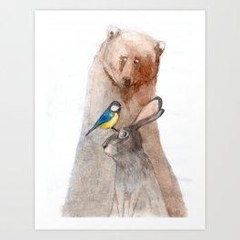 Bear, Hare and Tit Art Print