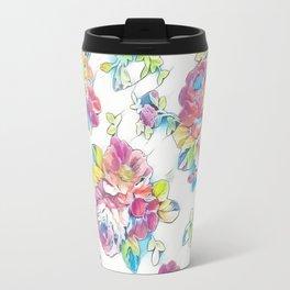 Pastel Rainbow Floral Travel Mug