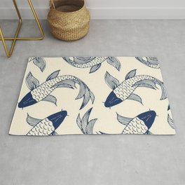 koi carp, fish textile pattern, Rug