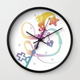 Cute Rainbow Silhouette Heart Moon Key With Locket Wall Clock