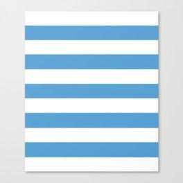 Carolina blue - solid color - white stripes pattern Canvas Print