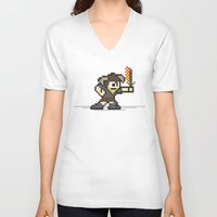 skyrim V-neck T-shirts featuring 8 bit Dovahkiin by Deep Search