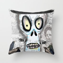 Skellington in White Throw Pillow