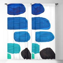 Colorful Mid Century Modern Pop Art Minimalist Style Teal Blue Aquamarine Bubbles White Background Blackout Curtain