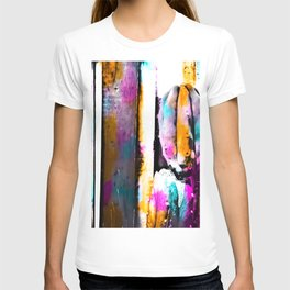 cactus with wooden background and colorful painting abstract in orange blue pink T-shirt