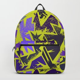 Abstract urban backdrop with curved geomtry seamless pattern and grunge spots in street style Backpack