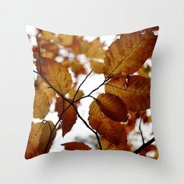 Beech Leaves Throw Pillow