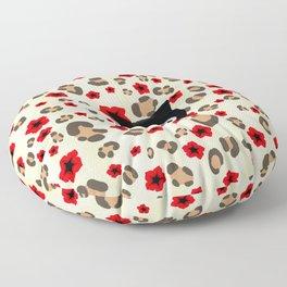 Spooked Kitty Black Creepy & Cute on Leopard Print Floor Pillow