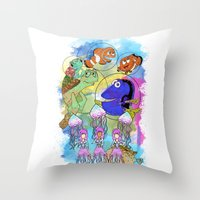 finding nemo Throw Pillows featuring Disney Pixar Play Parade - Finding Nemo Unit by Joey Noble