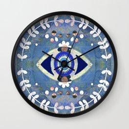 Evil Eye Protective Turkish Mandala Print Wall Clock