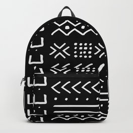 Black hand drawn mudcloth Backpack
