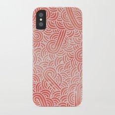 Peach echo and white swirls doodles iPhone X Slim Case
