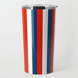 Retro Stripes Pop Art - Red White Blue Travel Mug