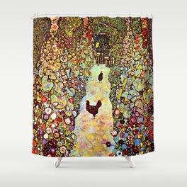 Gustav Klimt Garden with Roosters Shower Curtain