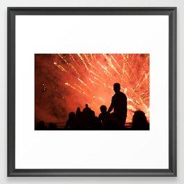 fireworks show Framed Art Print