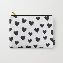 Hearts Love Black and White Pattern Carry-All Pouch