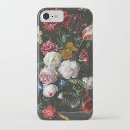 Jan Davidsz De Heem - Still Life With Flowers In A Glass Vase iPhone Case