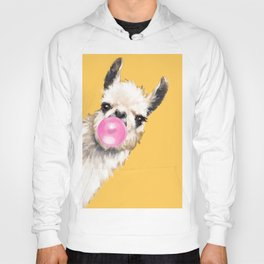 Bubble Gum Sneaky Llama in Yellow Hoody