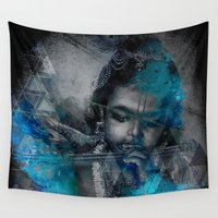 hindu Wall Tapestries featuring Krishna The mischievous one - The Hindu God by sarvesh