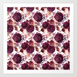 Burgundy pink white watercolor hand painted floral Art Print