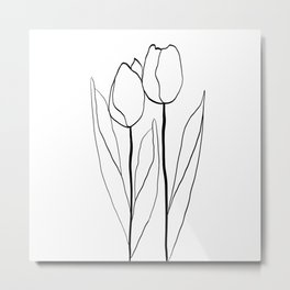 Line Art Tulips Metal Print