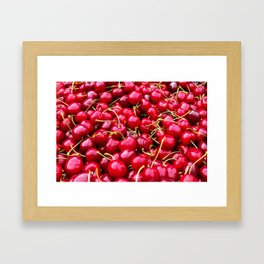 Fresh and delicious fruity red cherries fruit food pattern Framed Art Print